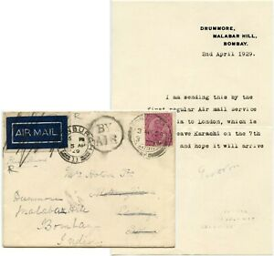 INDIA 1929 FIRST FLIGHT AIRMAIL + LETTER KARACHI SCOTLAND REDIRECTED BACK BY SEA