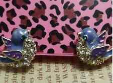 E84 Betsey Johnson Mini Happy Flying Blue Bird Rhinestone Crystal Earrings US