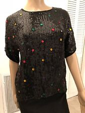 VINTAGE ALBERT PAUL SEQUIN AND BEADED SILK  TOP WITH JEWELS SIZE M