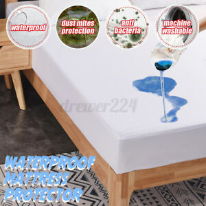 Fully Covered Bed Mattress Protector Topper Cover Polyester knitted fabric UK