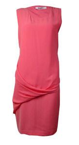 DKNYC Women's Asymmetrical Chiffon Overlay Dress (8, Sorbet)