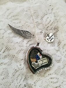 IN MEMORY OF MY BROTHER - ALWAYS IN MY ❤ FLOATING CHARMS HEART LOCKET-MY DESIGN