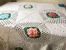 "68"" x 84"" Knit Flower Afgan Blanket Throw Wrap Home Living"