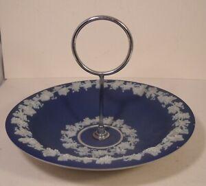 Wedgwood Dark Blue Jasper Ware Vine Nut Dish/Hors d'oevres Metal Handle