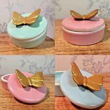Small Ceramic Trinket Jewellery Dish & Butterfly Lid ~ Blue ~ Pink ~ Mint Green