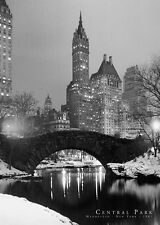"New York City photography poster 24x36"" Central Park Bridge Black and White"