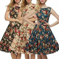 50s 60s Rockabilly Dress Women Floral Vintage Pinup Housewife Swing Dress UK6-14