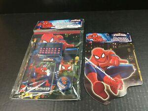 Marvel Spiderman 7-Piece Stationary Set & Sticker Book Calculator, Ruler Pencils