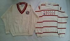 2 VINTAGE MADE IN USA JORDAN ERA NUTMEG NBA CHICAGO BULLS SWEATERS BOTH SIZE L.
