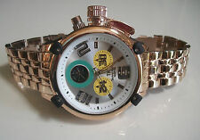 Mens Rose Gold finish Techno King metal bracelet heavy chrono style Rapper watch