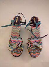 NEW RARE GORGEOUS Women Missoni ZigZag Chevron Wedge Shoe Heel Multicolor 11 41