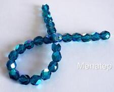 25 6mm Czech Glass Firepolish Beads: Dark Teal AB
