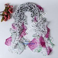 SILK Chiffon Feel Shawl,Pashmina,Wrap, Floral PINK ,Black Dots ,Scarf, Stole