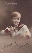 Jeune Garçon & ces Oeufs de PAQUES 1914 Hand Coloured NPG Real Photo Postcard