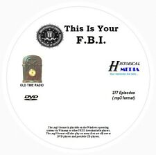 THIS IS YOUR F.B.I. - 277 Shows Old Time Radio In MP3 Format OTR On 1 DVD
