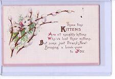 Vintage Tiny Kittens On Pussywillows Poem Postcard Postmark 1916