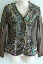 Foder ,  Italian Design, Floral Washed Denim Jacket -Size 8