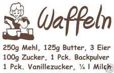 Wandtattoo-Aufkleber Waffeln-Rezept fuer Deko, Küche