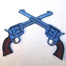TWIN CROSS PISTOLS EMBROIDERED PATCH P440 iron on sew biker JACKET patches  NEW
