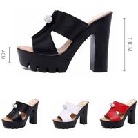 Womens Peep Toe High Chunky Heels Platform Slipper Summer Sandals Mules Shoes GS