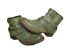 French Blu Womens US 8.5M EU 39 6.5 UK Olive Green Ankle Side Zip Boots