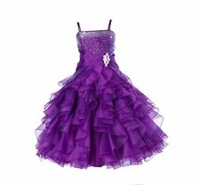 Organza Pleated Ruffled Flower girl dress Junior Bridesmaid Christmas Pageant