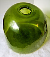 Green Glass Bubble Vase w/ Flat Bottom /  Art Glass Vase