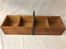 Wooden Rustic Divided Carrier Caddy Box Cast Iron Handle Cabin Cottage Decor Vtg