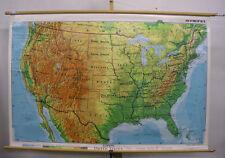 schöne alte Schulwandkarte USA Nordamerika 158x105cm ~1975 vintage US wall map
