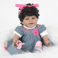 "22"" African American Ethnic Realistic Lifelike Toddler Doll Reborn Black Hair US"