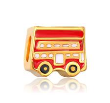 18K gilded British flag bus fit European Charm Bracelet pendant Chain #FW331