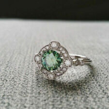 Ring 925 Sterling Silver 7 Size Si1 Clarity Green Moissanite 1 Carat Engagement