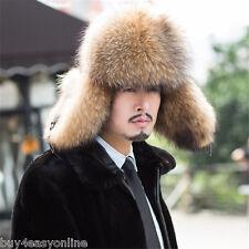 Brand Russian Raccoon Full Fur Shapka Ushanka Hat Siberian Type for Real Men