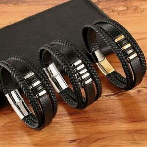 Triple Leather Bracelet Stainless Steel Magnetic Clasp Hand-woven Charm for Men