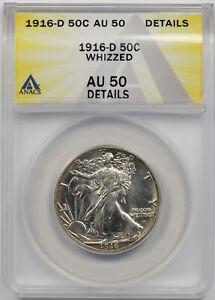1916-D Walking Liberty Half Dollar Silver 50C AU 50 Details ANACS