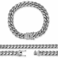 """Cuban Link Chain Silver Stainless Steel Bracelet Fashion Jewelry For Men 9.5"""""""