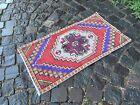 Vintage from 1950s, %100 wool handmade Turkish vintage rug   1,5 x 2,8 ft