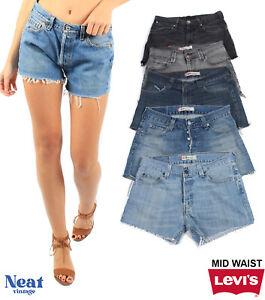 Vintage Levis Shorts Women's Mid Rise Hotpants Denim Grade A Size 6 8 10 12 14 1