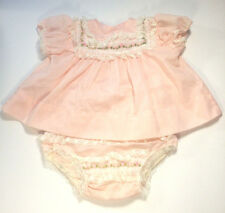 Vintage Baby Girl Pink Floral Dress Set Plastic Diaper Cover Embroidered