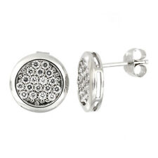 STERLING SILVER CZ ROUND PRONG SETTING CLUSTER EARRINGS