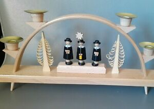 Original German Erzgebirge 4 Candle Wood XMAS Choir Carolers Figures Candelabra