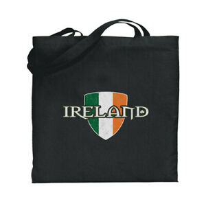 Ireland Flag Canvas Tote Book Bag Black Cotton Irish Theme Gifts Souvenir Sack