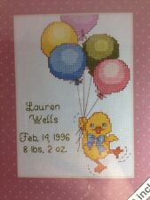 Weekenders Skyscrapers Birth Announcement Counted Cross Stitch Kit Duck Balloons