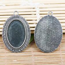 2pcs tibetan silver color oval plain style cabochon settings 39x29mm EF2081