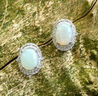 OPAL Silber Ohrstecker  Opal & Zirkonia  925er Silber