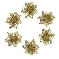 6 x Christmas Tree Xmas Bauble Decorations Ornate 3D Poinsettia Flowers - Gold