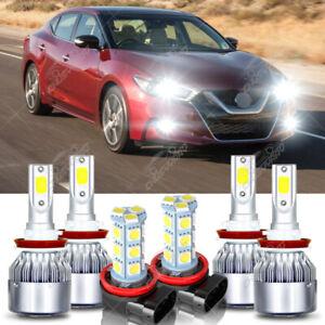 For 2016 2017 2018 Nissan Maxima LED Headlight Hi/Lo+Fog light Combo Bulbs White