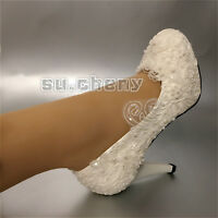 su.cheny Wedding shoes white light ivory Bridal flats low heels pumps size 5-12