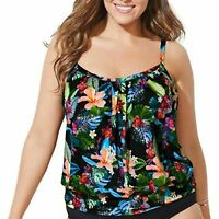 Swimsuits For All Tropical Blouson Tankini 16 NWT Multicolored Womens Floral Top