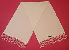VINTAGE AUTHENTIC SOLID IVORY FINE LAMBSWOOL LONG MEN'S FRINGE SCARF